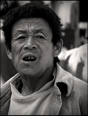 A man from market, Kaluk (Sikkim) (Sukanto Debnath) Tags: portrait bw india man blackwhite market sony f828 wrinkle sikkim mywinners aplusphoto sukantodebnath kaluk