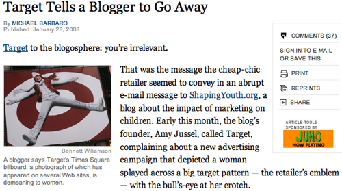 Target Tells a Blogger to Go Away - New York Times