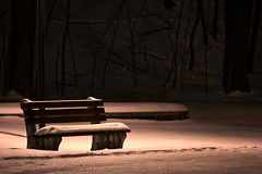 bench (snapstill studio) Tags: winter snow cold night waterfront michigan petoskey