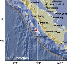earthquake in  Southern Sumatra, Indonesia