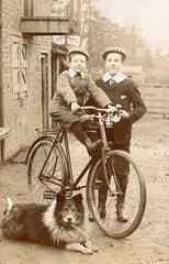 Two boys, a dog and a bicycle (lovedaylemon) Tags: boy dog bike bicycle vintage found child image edwardian