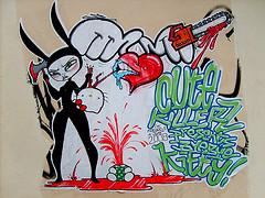 le koeurl, june (wanshot) Tags: streetart paris france june collage peinture 2008 papier wanshot koeurl