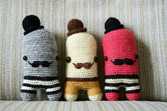 (sandra juto) Tags: pink brown hat yellow toy happy grey handmade stripes crochet moustache buttcrack softies