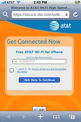 AT&T Wi-Fi iPhone Login Page