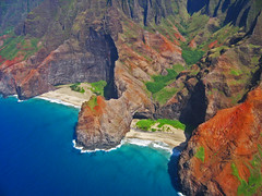 Na Pali's Hidden Beaches of Honopu (Walt K) Tags: ocean statepark beach hawaii coast tour cathedral pacific cliffs helicopter valley kauai napali bluehawaiian specland waltk honopu