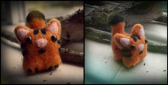 First Fun Of The Kitty (Midnight Hoots) Tags: needle felted needlefelted felt animals wildlife nature cute soft wool handmade craft crafts crafted handcrafted art 3d