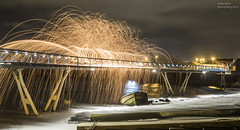 Millenium Bridge (handmiles) Tags: colour night cas castleford milleniumbridge bridge wirewool burning burn water longexposure nightphoto nightphotography sony sonya77mark2 sonya77m2 tamron tamron18200mm mileshandphotography2017