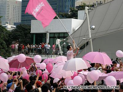 Flag-bearer waving the flag heartily