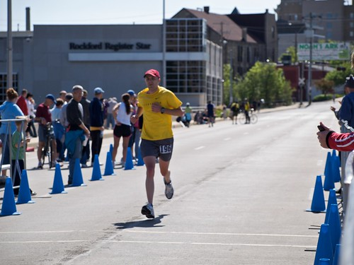 Rob finishing Rockford Marathon