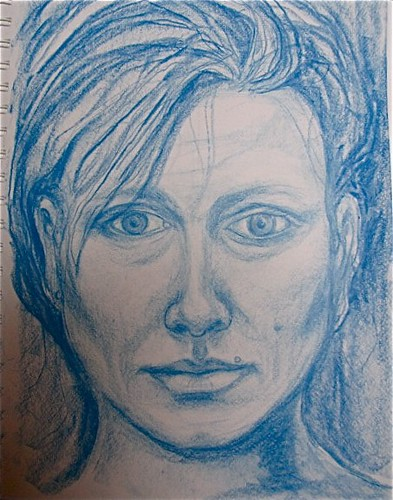 portrait in blue conte by Beth