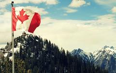 (  rikilynpearl  ) Tags: snow canada mountains beautiful flag alberta banff gondola canadianflag