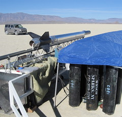 BIG Hybrid Rocket (jurvetson) Tags: desert weekend nevada explosion balls boom midair rocket launch hybrid bang cato blackrock nitrousoxide kapow balls16 rmotor
