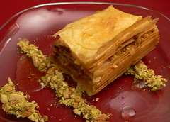 Pear pistachio baklava (HarlanH) Tags: red cooking modern club dinner pistachios baklava cookingclub
