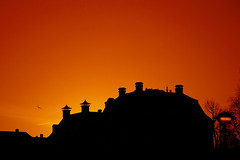 Urban sunrise (MarcelGermain) Tags: city travel light red sky urban orange sun black holland netherlands amsterdam yellow sunrise buildings geotagged nikon europe silhouettes cel holanda myfavourites chimneys edificis d80 siluetes marcelgermain twtmesh050818