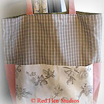 Girly-girl CLEARANCE<p>Pink, White and Gray Extra Large Knitting Tote or Diaper Bag