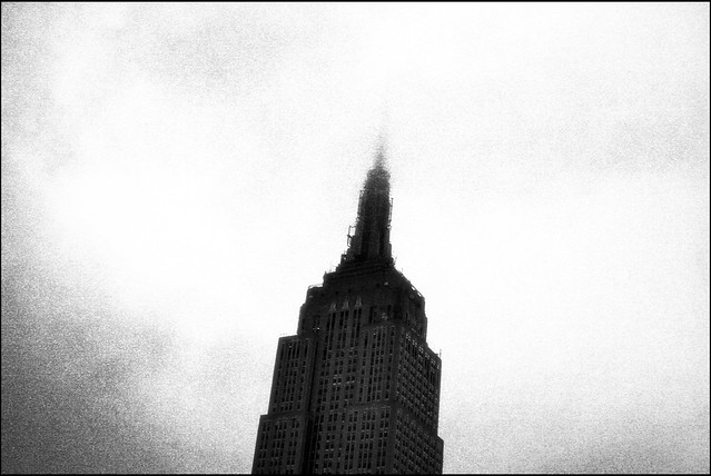 Empire State Building Through Clouds