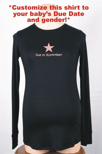 """Custom Due Date Star"" Maternity T-shirt"