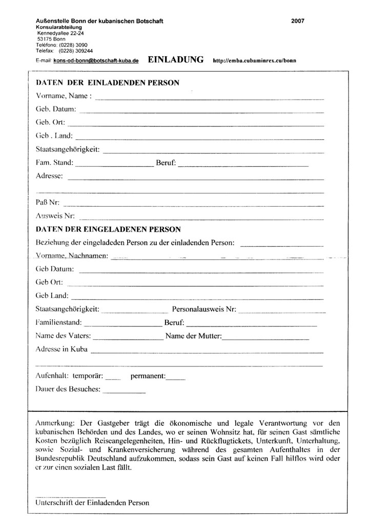 Cuba Forum Einladungsschreiben