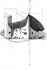 corbu : ronchamp (rypat) Tags: travel france building church field architecture pen ink sketch european hand drawing chapel portfolio lecorbusier ronchamp notredameduhaut