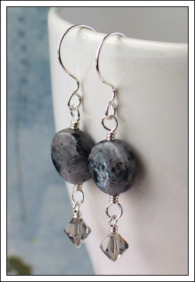 Larvikite & crystal earrings