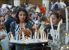 Iraqi Christians with candles