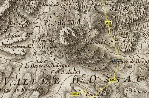 Pic du Midi d'Ossau - Carte de Cassini - Géogarage