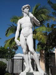 Outside, they had an exact replica of Michelangelo's David, carved from one piece of carrera marble — the same as used by Michelangelo. (10/29/05)