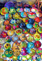 Colorful (cwgoodroe) Tags: blue food beach beer pool mexico sand surf markets palmtrees bowls zihuatanejo infinitypool fishingvillage trinkets tacostand cervesa sfchronicle intrawest zihua zhihua outdoormarket 96hrs playadelropa