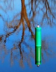 Buoy IV (cmk53) Tags: blue trees reflection water tag3 taggedout river tag2 tag1 buoyant oklahomariver d40x 15thstlanding
