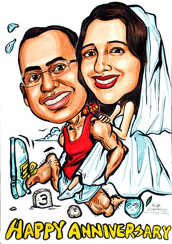 Caricatures couple marathon wedding third anniversary