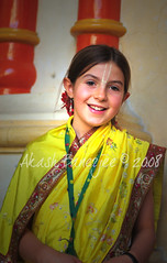 HOLI @ MATHURA/ VRINDAVAN - LITTLE RADHA! (Akash -Tales from Shining and Sinking India) Tags: new people india man festival 50mm nikon hare colours faces candid delhi d70s seven nikkor krishna holi ages mathura akash vrindavan tilak 18f banerjee haribol