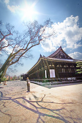 (Sanju San gen do) (cathycracks) Tags: blue shadow sky cloud sun house tree beautiful japan temple kyoto branches sunny ground wideangle lensflare   gravel canon1022mm  barbjaako canonefs1022 goodfishiescom hdrlookalike desertlookalike