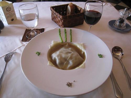 Foie gras stuffed ravioli
