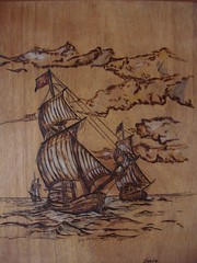pyrography - pirates boats - πυρογραφία