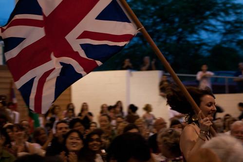 Sarah with the UK flag