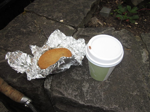 Ice cream sandwich and hot cocoa
