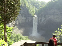 NO FEAR:  NEXT TO THE EDGE OF TAUGHANNOCK FALLS OVERLOOK (you can do a slideshow of my Taughannock photos-8) (Birder23) Tags: trees cliff water rocks stream stonework awesome tourists spray whirlpool gorge geology ithaca overlook humid shale taughannockfalls rocksandtrees