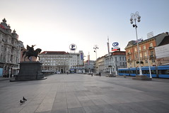 Ban Jelačić statue which used to be on the north facing the south and was changed with the breakup of Yugoslavia