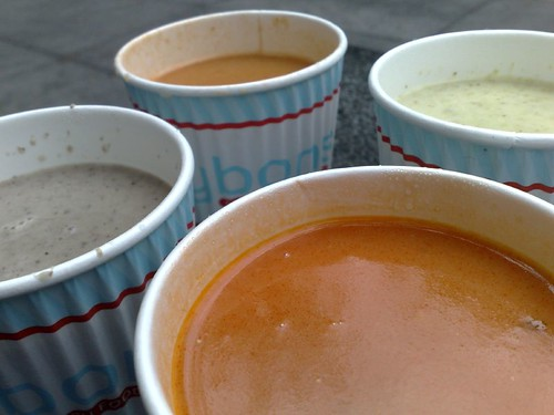 Clockwise from upper right: broccoli & cheddar, tomato, mushroom, and seafood bisque