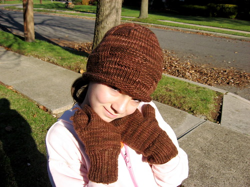 Malabrigo hat and mittens