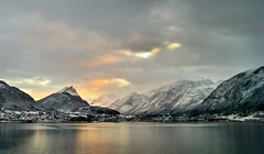 Sister Winter (Kjers..) Tags: winter sunset sky snow mountains cold nature norway reflections dark landscape afternoon dusk fjord sykkylven canonixus850is editedbyerik