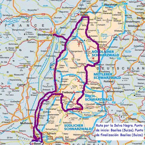 Mapa con el recorrido por la Selva Negra por ti.