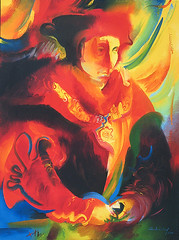 Sir Thomas More (1478-1535;canonized 1935) 2000 by Stephen B Whatley (Stephen B Whatley) Tags: blue red portrait art history crimson yellow dark painting artist catholic modernart faith prayer expressionism british martyr toweroflondon oilpainting towerhill execution stthomasmore sirthomasmore royalhistory stephenbwhatley