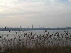 Vista dell'Außenalster, chiese parrocchiali e Rathaus sullo sfondo