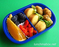 Crab cake & mini muffin bento lunch for preschooler