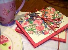 Ribbons & Roses note cards with pink envelopes