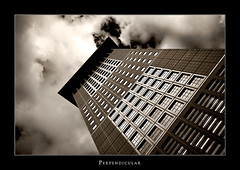 Perpendicular VII (Philipp Klinger Photography) Tags: windows light sky white black reflection tower glass japan stone sepia architecture clouds germany deutschland hessen frankfurt perspective perpendicular hesse taunustor dcdead
