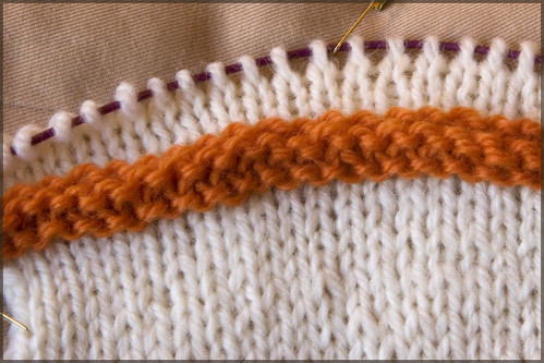 Knitted welt in place, and knitting onward