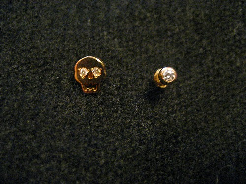 he Skull and 18K Gold Diamond Earrings