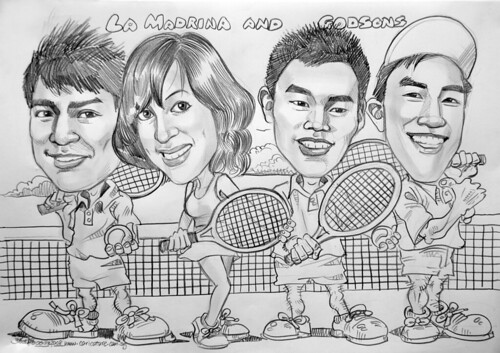 Caricatures group tennis players
